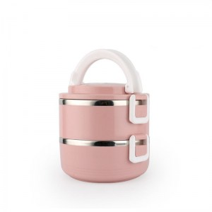 Lunch Box Isotherme Inox Ronde Rose 2 étages