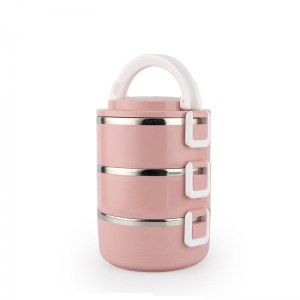 Lunch Box Isotherme Inox Ronde Rose 3 étages