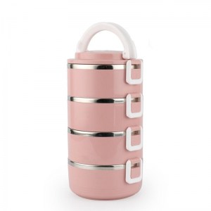 Lunch Box Isotherme Inox Ronde Rose 4 étages
