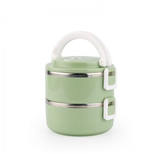 Lunch Box Isotherme Inox Ronde Verte 2 étages