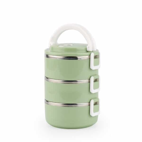 Lunch Box Isotherme Inox Ronde Verte 3 étages
