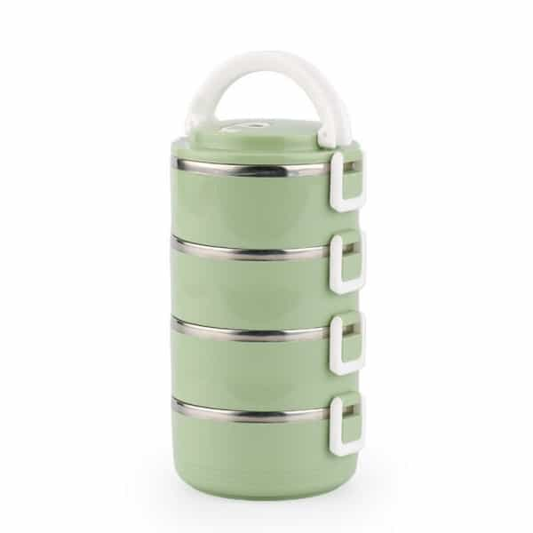 Lunch Box Isotherme Inox Ronde Verte 4 étages