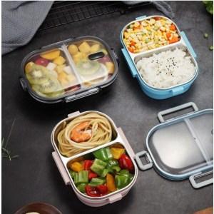 Lunch Box Noire Double-compartiment avec Couvercle transparent