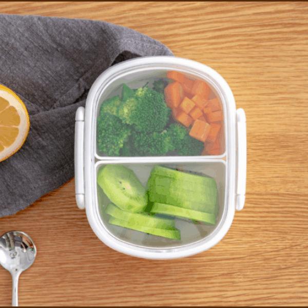 Lunch Box Plastique Compartimentée avec Couvercle transparent