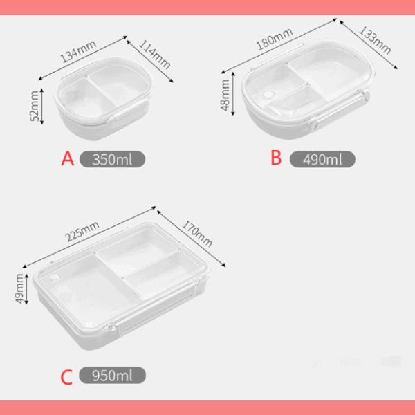 Lunch Box Plastique Compartimentée avec Couvercle transparent Dimensions