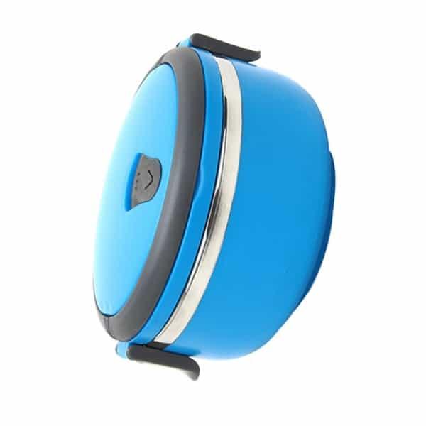 Lunch Box Ronde Isotherme Inox avec Poignée bleu