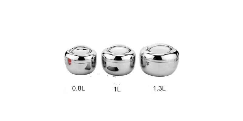 Lunch Box Ronde Inox 0.8L, 1L, 1.3L avec Poignée