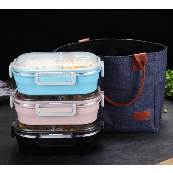 Lunch Box Rose Double-compartiment avec Couvercle transparent