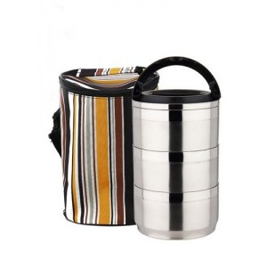 Lunch Box Waterproof Isotherme Inox 3 étages avec Sac