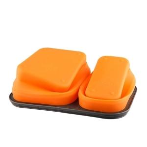Lunchbox Double-compartiment en Silicone Orange pliée