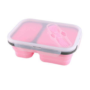 Lunchbox Double-compartiment en Silicone Rose