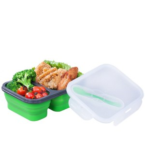 Lunchbox Double-compartiment en Silicone Verte 1